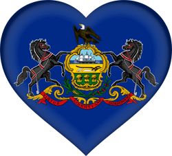 Flag of Pennsylvania - Heart 3D