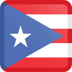 Flag of Puerto Rico - Button Square
