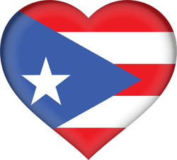Flag of Puerto Rico - Heart 3D