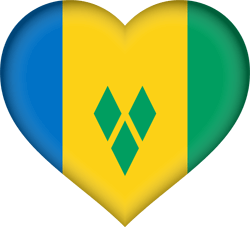 Flag of Saint Vincent and the Grenadines - Heart 3D