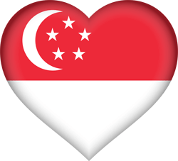 Flag of Singapore - Heart 3D