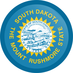 Flagge von South Dakota - Knopf Runde