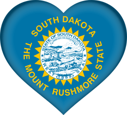 Drapeau de South Dakota - Coeur 3D
