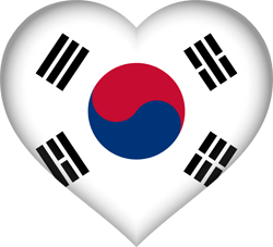 Flag of South Korea - Heart 3D