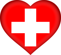Flag of Switzerland - Heart 3D