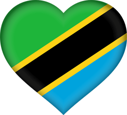 Flag of Tanzania - Heart 3D