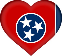 Flag of Tennessee - Heart 3D