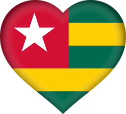 Flag of Togo - Flag of the Togolese Republic - Heart 3D