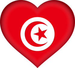 Flag of Tunisia - Heart 3D
