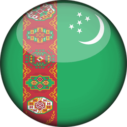 Flag of Turkmenistan - 3D Round