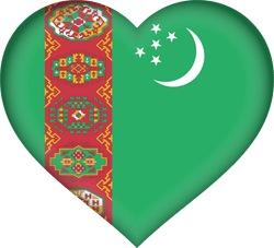 Flag of Turkmenistan - Heart 3D