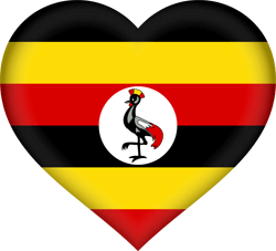 Flag of Uganda - Heart 3D