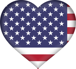 Flag of the United States - Flag of the USA - Flag of America - Heart 3D