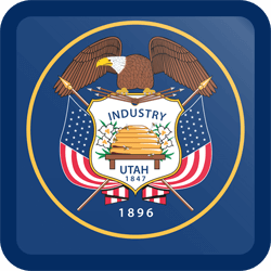 Flag of Utah - Button Square