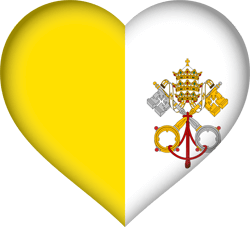 Flag of Vatican City - Flag of the Holy See - Heart 3D
