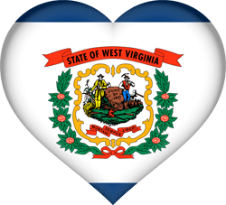 Flagge von West Virginia - Herz 3D