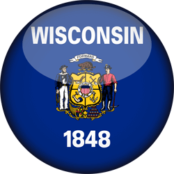 Flag of Wisconsin - 3D Round