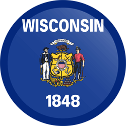 Flag of Wisconsin - Button Round