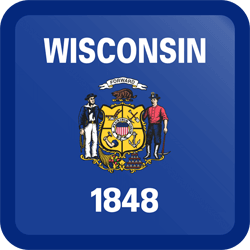 Flag of Wisconsin - Button Square