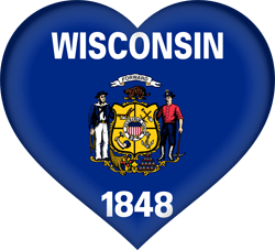 Flag of Wisconsin - Heart 3D