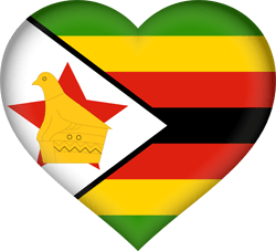 Flag of Zimbabwe - Heart 3D